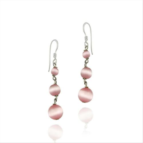 Stearling Argent Rose Chats œil Perles Dangle Earrings