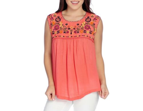 NEW OSO Casuals Woven Sleeveless Floral Embroidered Top in Coral or White