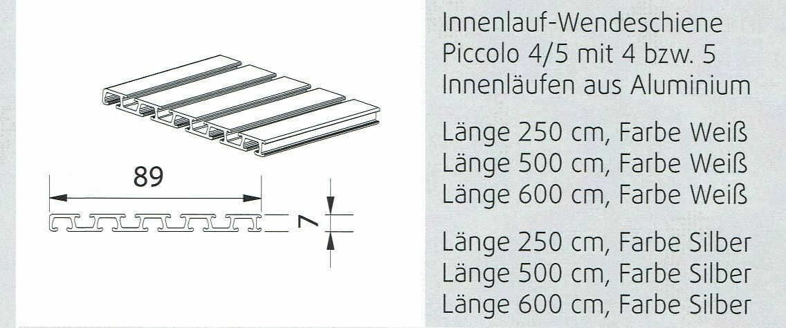 Flächenvorhang Komplettsystem Piccolo 5-läufig mit Paneelwagen Paneelwagen Paneelwagen   2 Farben c62564