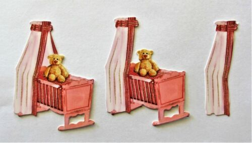 3D Easy Die Cut Card TOPPERS Baby Girl Pram Bottle Cradle Booties Bib Type 3