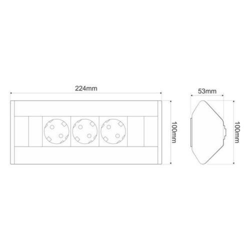 CornerBox 3x Schuko Tisch Ecksteckdose Tischsteckdose ; Aluminium