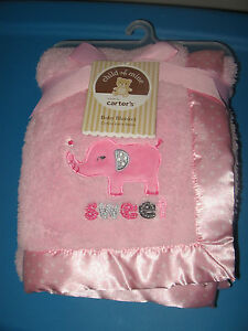CARTERS CHILD OF MINE PINK GIRL SWEET ELEPHANT SATIN NEW baby BLANKET