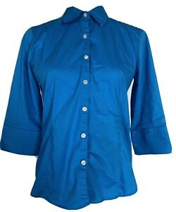 George Women's XS Blouse Blue Stretch 3/4 Sleeves Button Down Collared Cotton