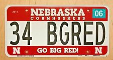 "CORNHUSKERS GO BIG RED  VANITY AUTO  LICENSE PLATE "" 34 BG RED ""  NEBRASKA"