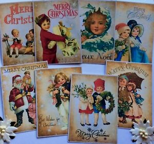 Vintage-Children-Gorgeous-Christmas-Card-Toppers-Scrapbooking-Crafting