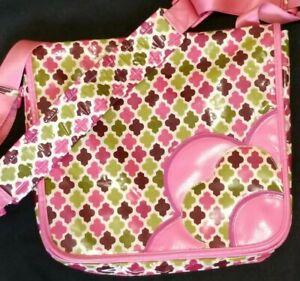 🌻Vera Bradley FRILL Messenger Bag Tote Bag Purple Pink Green Floral Quatrefoil