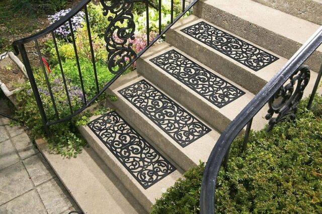 Bon Outdoor Stair Treads 4Pcs Yard Flooring Tiles Non Slip Step Indoor Home  Decor