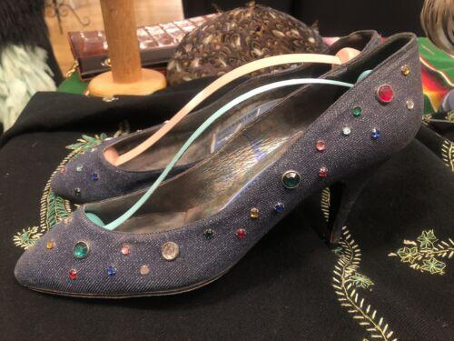 Vintage Thierry MUGLER denim Embellished 80's Shoe
