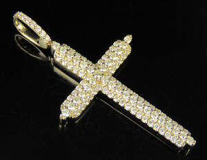 289c5d1bed4b3 Details about Men's 10K Yellow Gold Real Diamond 3 Row Prong Cross Pendant  1 1/2 CT 2