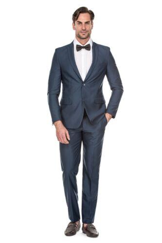 Coat+pant Porto Filo Texure Teal Blue Color 2Pcs Slim Fit Suit