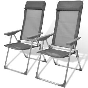 Wundervoll Das Bild Wird Geladen VidaXL 2x Aluminium Gartenstuhl Hochlehner  Klappstuhl Campingstuhl Liegestuhl