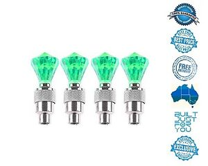 4X-GREEN-Diamond-Shape-Tyre-Valve-Caps-LED-Light-Lamp-Car-Bike-Truck-Suv-4WD