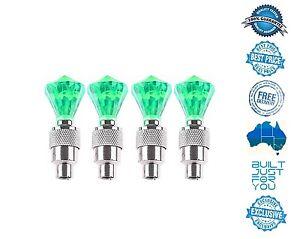 4X-GREEN-Diamond-Shape-Tyre-Valve-Caps-LED-Light-Lamp-Car-Bike-Truck-Suv-4WD