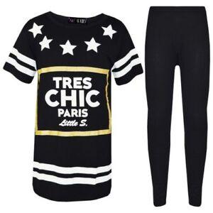 infantil-Beisbol-Sueter-Disenador-TRES-CHIC-Paris-Camiseta-Top-Juego-de-leggings