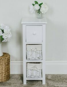 Tall Slim Bedside Table White Wicker 2 Drawers Bedroom Living room Tallboy St... 5060495614040 ...