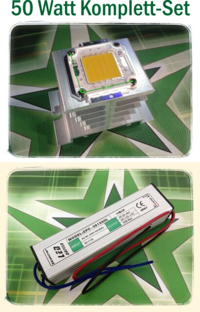 SET - 50W Watt LED Fluter 5000lm  6000K weiß SMD Flutlicht inkl. Glaslinse+Refl.