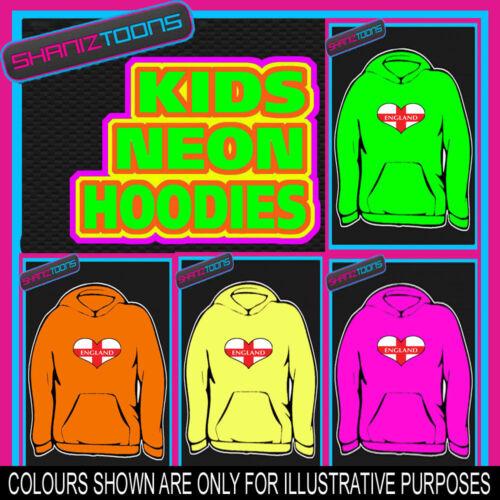 ENGLAND ST GEORGES CROSS FLAG LOVE HEART NEON  ELECTRIC KIDS CHILDS HOODIE HOODY