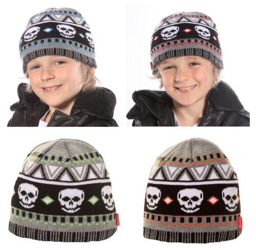 /'Boys Grey Skull Winter Knitted Ski Hat/'