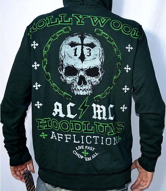 Affliction American Customs HOODLUMS Reversible Zip Hoodie Sweatshirt A4604