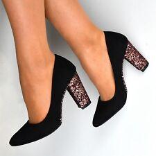 bb036c3f1e9 item 1 Womens Black High Block Heel Court Shoes Glitter Slip on Pumps  Closed toe Size -Womens Black High Block Heel Court Shoes Glitter Slip on Pumps  Closed ...