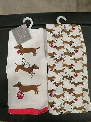 2 Dachshund Envogue Kitchen Towels Valentine Love Angel Arrow Wings Nwt Ebay
