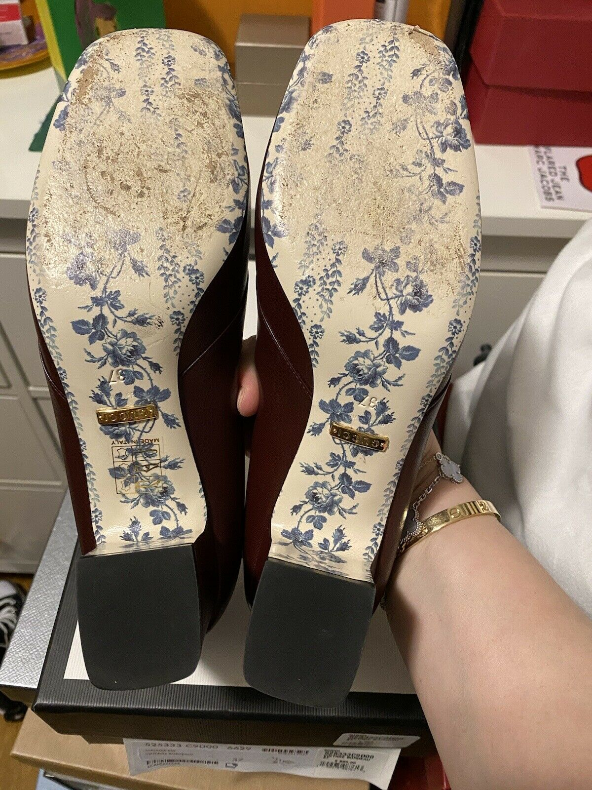 Gucci Malaga Kid Vintage Bordeaux heel loafer 37 … - image 4