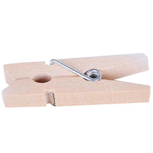 100X 2.5cm*0.3cm Mini Natural Wooden Cloth Photo Paper Peg Clothespin Clips R4U3