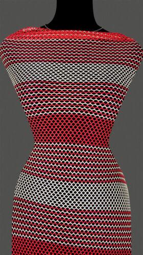 7,20 €//m 50cm STOFF STRICKSTOFF Netz Spitze gestreift Streifen beige rot
