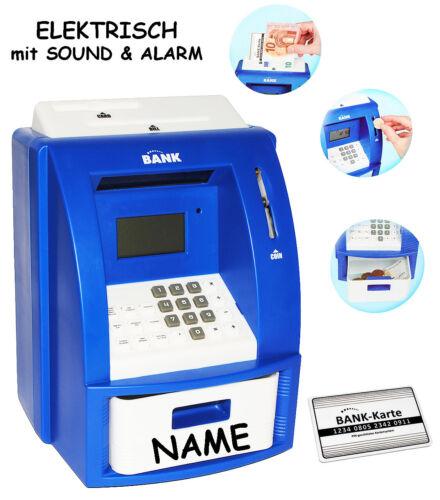 """Spar elektrische Spardose /"""" Geldautomat /"""" PIN Geldkarte mit SOUND blau"""