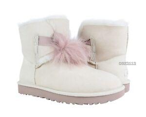 76302da9480 Details about UGG Gita Powder Pink Suede Fur Pom Pom Boots Womens Size 9  ~NIB~