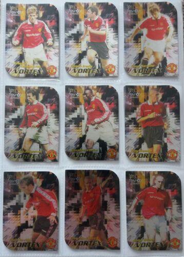 Choisissez les cinq cartes Manchester United Futera 1999 Hotshots ou Vortex Inserts