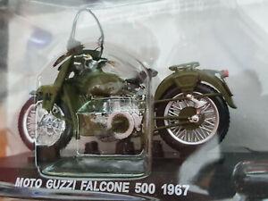 Moto-Guzzi-Falcone-500-1967-Carabinieri-Scala-1-24-Die-Cast-Atlas-Nuova
