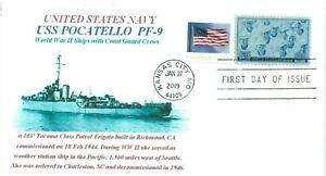 Uss-Pocatello-PF-9-Ww-II-US-Navy-Patrulla-Fragata-Foto-Cachet-Idaho-First-Day-Pm