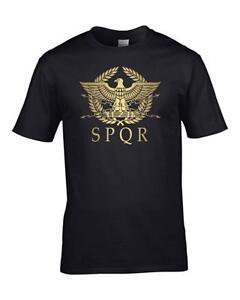 SPQR-Roman-Empire-Metallic-Gold-Eagle-historical-Men-039-s-T-Shirt-from-FatCucko