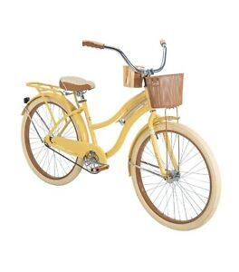 Huffy Nel Lusso Classic Cruiser 26in Women Bike with Perfect Fit Frame Yellow
