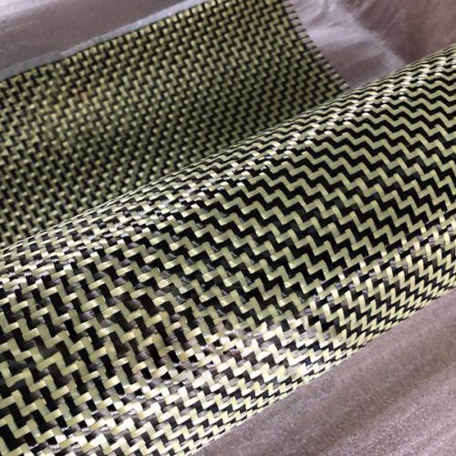 negro de aramida De Fibra De Carbono Tela Combinada Tela Mixta W Weave 0.5m Amarillo W