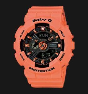 Casio-Baby-G-BA-110-Series-Standard-Anadigi-Peach-Orange-x-Black-Dial-Watch