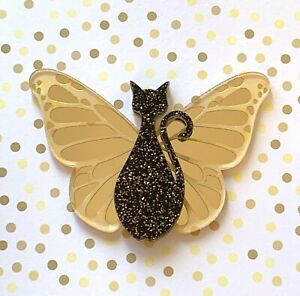 Acrylic-Brooch-Glittery-Butterfly-Cats-Choose-Colour-Brooches-Pins-Cats