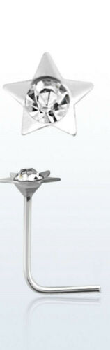 Nasenpiercing STERN Star Nasenstecker Kristall KLAR Silber 925 Silberstecker