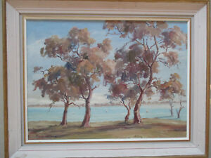 Nice-Oil-on-board-Margaret-Lang-034-Lake-Bonney-034-1970s-33-x-45cm