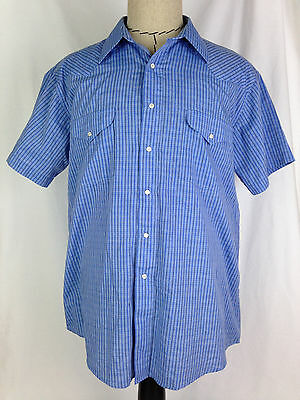 Panhandle Slim Shirt Western Mens 17 Size Blue Pearl Snap Cowboy Rodeo Texas