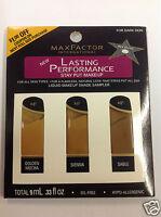 Max Factor Lasting Performance Liquid Makeup Shade Sampler For Dark Skin.