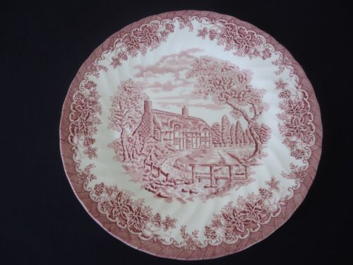 churchill the brook chelsea pink red dinner plate england cottage