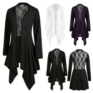 Womens-Ladies-Cardigan-Long-Sleeve-Lace-Patchwork-Coat-Jacket-Outerwear-Tops-UK