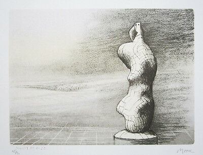 """HENRY MOORE Signed 1978 Original Color Lithograph - """"Standing Figure: Storm Sky"""""""
