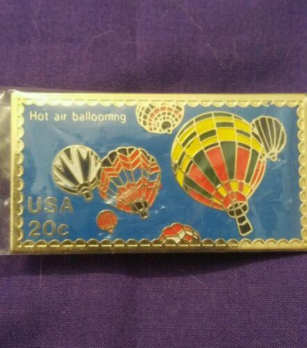 USPS Commemorative 20 Cents Stamp Hot Air Ballooning Lapel Pin Metal EUC