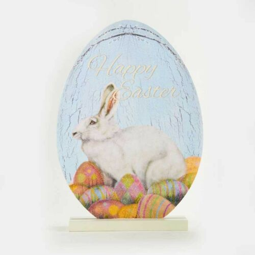 NEW~Happy Easter Egg//Rabbit//Bunny Sign~Cut Out Wood Plaque//Base//Victorian//Wreath