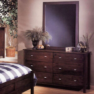 Dark Brown Solid Wood Dresser Mirror 2pc Set Local Pick Up Only
