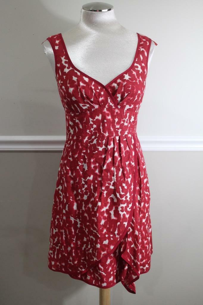 Nanette Lepore Women's Red & White Pleated Dress Size 6 (DR500