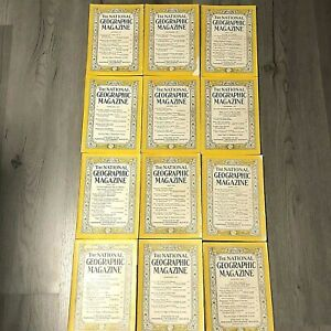 Antique-Vintage-1954-1955-National-Geographic-Magazines-Lot-of-12